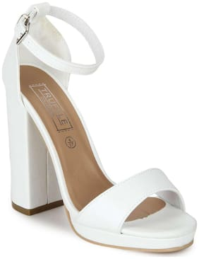 Truffle Collection White PU Pumpped Ankle Strap Block Heels