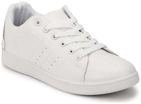 Truffle Collection White PU Rainbow Lace-Up Sneakers