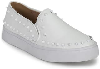 White PU Studded Slip-On Loafers