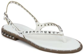 Truffle Collection White PU Studded Strap Slip-On Flats