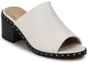 Truffle Collection White PU Studded Low Heel Sandals