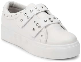 Truffle Collection White PU Studded Strap Slip-On Sneakers