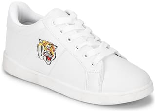 Truffle Collection White PU Tiger Detail Lace-Up Sneakers