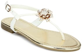Truffle Collection White Rose Embellished Ankle Strap Flat Sandals