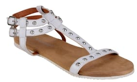 WHITE SANDALS BY BERRY PURPLE