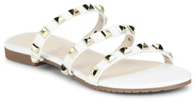 Truffle Collection White Strappy Studded Slip-On Flats
