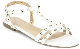 Truffle Collection White Studded Slip-On Flats