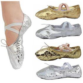 Women Girls Fashion Adult Pointe Gymnastics Sequins Faux Leather Ballet Dance Shoes