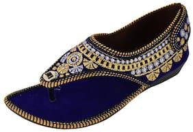 Women's Blue Velvet Ethnic Footwear