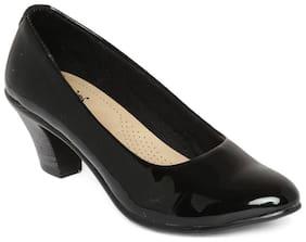 Wood Brough Black Block Heels