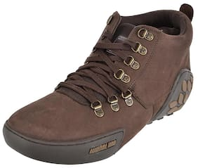 WOODLAND Men's Brown Leather Combat Boots