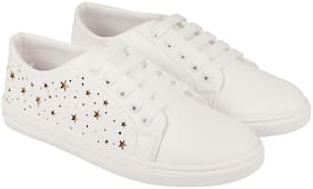 ZAVO Women White Sneakers