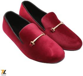 Ziesha Men Red Loafers - ZMS1025MAROON_10