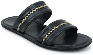 Scentra Men Black Sliders -