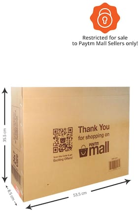 3500 gms PT028 Paytm Mall Branded Boxes, 53.5 x 35.5 x 8.5 cms (Pack of 50)