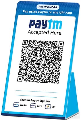 Paytm All in one QR display stand with digital clock