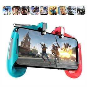 Crystal DigitalAK-16 Blue & Red  Big Trigger Fire Button Aim Key for PUBG v3.0 Rules of Survival Pubg Controller for Android & iOS