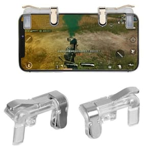 Dr.Drey PUBG Mobile Game Controller, Gamers Yard 1 Pair Sensitive Game Triggers for PUBG/Knives Out/Rules of Survival L1R1 Game Joysticks Gamepad for Android iOS Phones (Transparent)