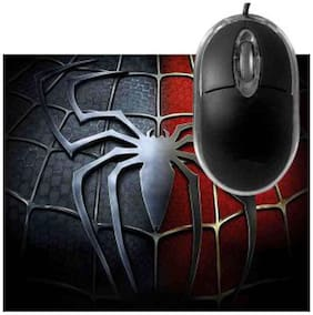 FineArts Spiderman Chest Red and Black Mousepad With Terabyte 3D Optical USB Mouse