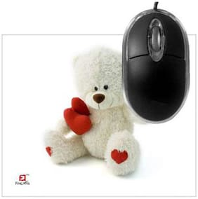 FineArts Teddy With Heart Mousepad With Terabyte 3D Optical USB Mouse