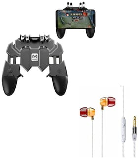 Freckle AK66 Six Finger All-in-One Mobile Game Controller Fire Button With Free Goldberg Bass Sporty Metal Stereo Earphone With Mic