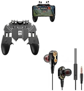 Freckle AK66 Six Finger All-in-One Mobile Game Controller Fire Key Button With Free 4D Bass Stereo Dual Driver Wired Earphone