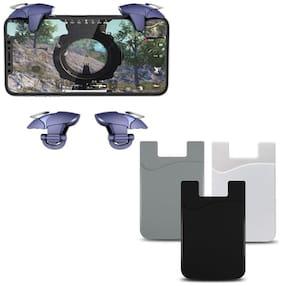 Freckle Blue Shark Mobile PUBG Trigger Battle Royale Sensitive Shooter With Free Universal Cell Phone Wallet, Cards Holder, Pocket Sticker