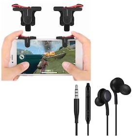 Freckle D9 Red And Black Mobile Game Trigger Joysticks Fire Controller With Free AKG Super Bass 3.5mm Jack Earphone