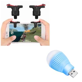Freckle D9 Red And Black Mobile Game Trigger Joysticks Fire Controller With Free Portable LED USB Bulb