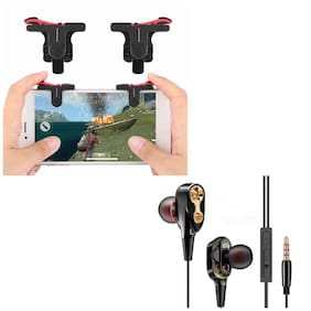 Freckle D9 Red And Black Mobile Game Trigger Joysticks Fire Controller With Free 4D Bass Stereo Dual Driver Sport Wired Earphone