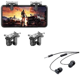 Freckle Metal PUBG Mobile Gaming Trigger Button Joystick With Free 208 Wired Earphones With Mic