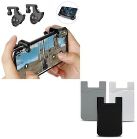 Freckle Mobile Game Controller Shooter Trigger Fire Button Handle With Free Universal Cell Phone Wallet, Cards Holder, Pocket Sticker