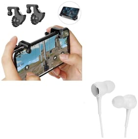 Freckle Mobile Game Controller Shooter Trigger Fire Button Handle With Free P1000 Wired Stereo Bass Earphone