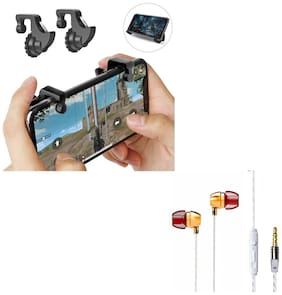 Freckle Mobile Game Controller Shooter Trigger Fire Button Handle With Free Goldberg Bass Sporty Metal Stereo Earphone With Mic