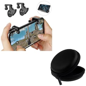 Freckle Mobile Game Controller Shooter Trigger Fire Button Handle With Free Black Earphone Pouch