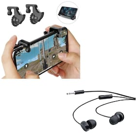 Freckle Mobile Game Controller Shooter Trigger Fire Button Handle With Free 208 Wired Earphones With Mic