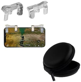 Freckle PUBG Gaming Controller Metal Transparent Fire Button Joystick Trigger With Free Black Earphone Pouch