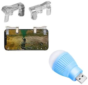 Freckle PUBG Gaming Controller Metal Transparent Fire Button Joystick Trigger With Free Portable LED USB Bulb