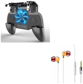 Freckle SR PUBG Trigger Controller Mobile Gamepad 4Fingers Assistant With Free Goldberg Bass Sporty Metal Stereo Earphone With Mic