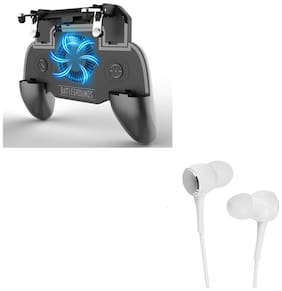 Freckle SR PUBG Trigger Controller Mobile Gamepad 4Fingers Assistant With Free P1000 Wired Stereo Bass Earphone