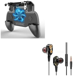Freckle SR PUBG Trigger Controller Mobile Gamepad 4Fingers Assistant With Free 4D Bass Stereo Dual Driver Sport Wired Earphone