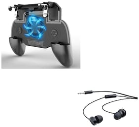 Freckle SR PUBG Trigger Controller Mobile Gamepad 4Fingers Assistant With Free 208 Wired Earphones With Mic