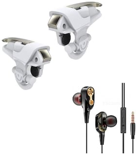 Freckle White Angel Wings Mobile PUBG Trigger for Aiming & Shooting With Free 4D Bass Stereo Dual Driver Sport Wired Earphone