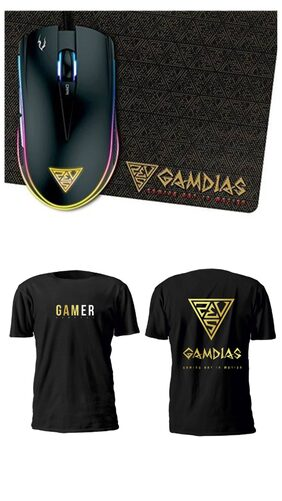 Gamdias Zeus E1 dual RGB Gaming Mouse + Mouse Pad with Free Gamdias branded T -shirt
