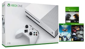 Microsoft Xbox One S Console 1TB  (White) with Halo-5, Steep and The Crew (DLC)