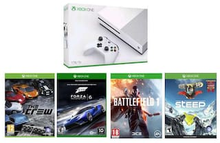 Microsoft Xbox One S Console 1TB GB (White) With Steep,The Crew,Forza Motorsport 6 and Battlefield 1