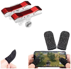 Nory PUBG Gaming Joystick for Mobile Trigger for Mobile Controller Fire Button with Free Gaming Finger Sleeve Touchscreen Finger Gloves Anti-Sweat Touch and Sensitive