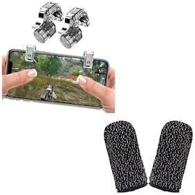 Nory  PUBG Trigger R11 Mobile Joystick for Gaming Controller Button triggers with Finger Sleeve Touchscreen Finger Gloves Conductive Fiber Cap Anti-Sweat