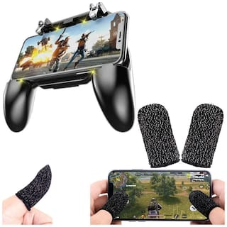 nory W10 2 in 1 Game Controller and Mobile Gamepad Holder Handle Joystick with Free Gaming Finger Sleeve Touchscreen Finger Gloves Anti-Sweat Touch and Sensitive