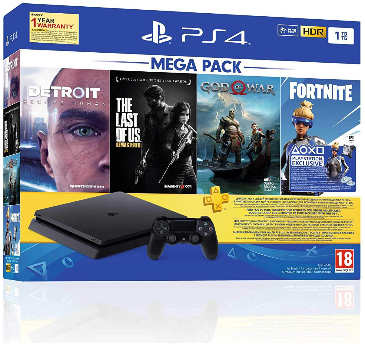 PS4 1TB Slim console (Free Games : Detroit /The Last of Us/God...